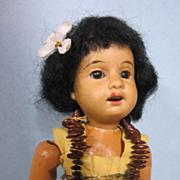 "Antique German Bisque 7"" All Original Hawaiian Doll"