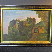 REDUCED A 19th Century American Folk Art Landscape Oil Painting