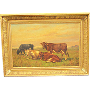 REDUCED A Hudson River School Painting with Cows by T. B. Craig