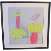 An Vintage Original Pastel Fashion Design Drawing