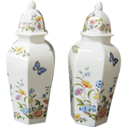 A Pair of Vintage Aynsley Covered Urns in the Cottage Garden Pattern