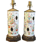A Pair of 19th Century Chinese Porcelain Hat Stands Mounted as Lamps