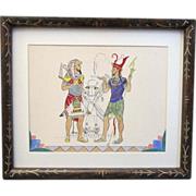 A Vintage Egyptian Revival Watercolor