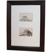 A Pair of 19th Century English Miniature Landscape Pen and Ink Drawings