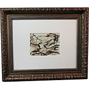 """A Mid-Century Monhegan Island Abstract Drawing Titled """"Harbor Scene"""" by Elizabeth Erlanger (1901-1975)"""
