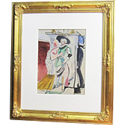 A 20th Century American Modernist Painting of a Courting Cavalier by Harry Brown (1901-    )