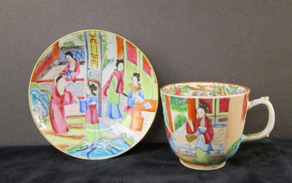 19th Century Chinese Export Porcelain Mandarin Cup and Saucer