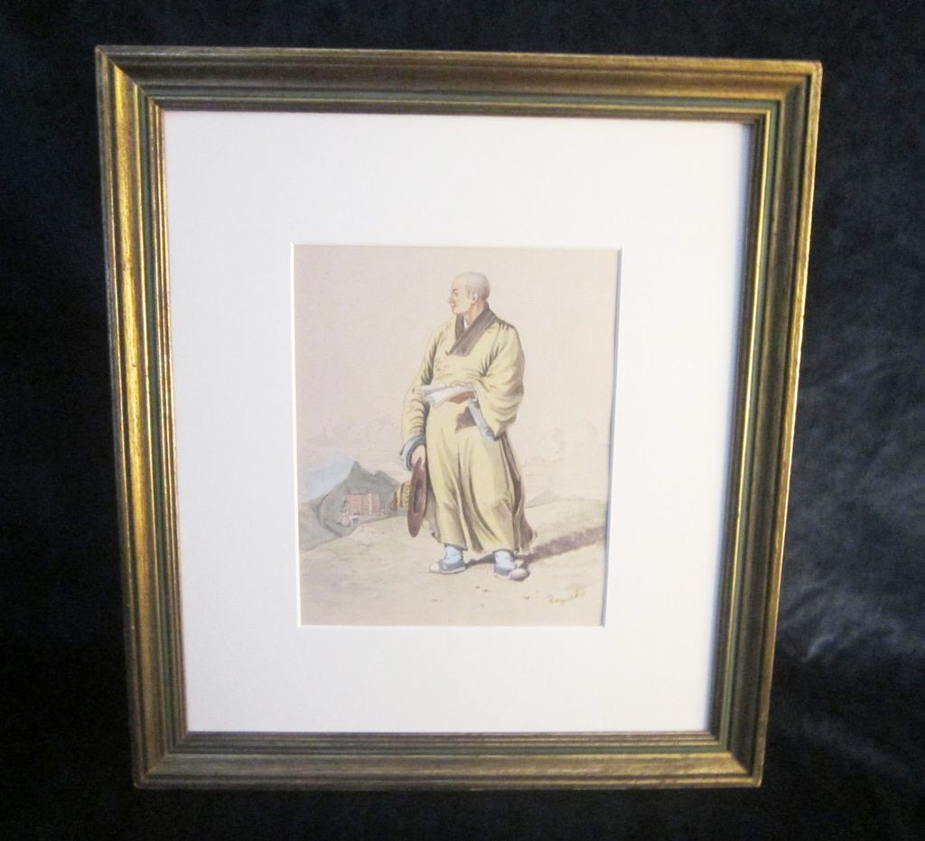 A Late 19th or Early 20th Century Watercolor Illustration of an Asian Man.