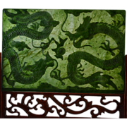Jade Table Screen with Dragons