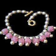 Handcrafted Venetian Glass Rosebud Necklace