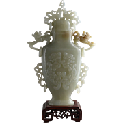 Qing Dynasty Jadeite Covered Vase with Quillin Motif