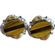 Tigereye and Black Hills Gold Screw Back Earrings Circa 1950