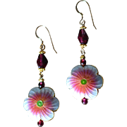 Romantic  Flower Earrings with natural Garnets and Enamel