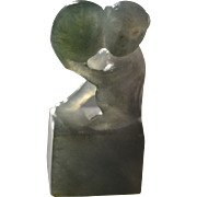 Early Republic Chinese Jadeite Chop with Monkey and Peach: Circa 1920 China