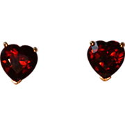 Stunning Bohemian Garnet Heart Shaped Earrings in 14 Karat Gold