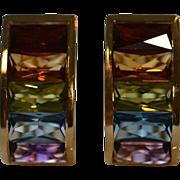 Spectacular Rainbow Gemstone Earrings in 18 Karat Gold