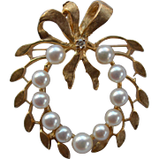 Cultured Pearl and Diamond Pin - Pendant 14 Karat Gold