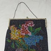 Large Art Deco Floral Beaded Handbag