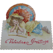 SALE Valentine Card Germany Victorian Girl