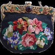 Victorian Floral Petit Pointe Purse Handbag Jeweled Frame