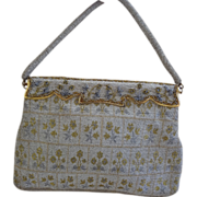 Steel Bead Gold and Silver Handbag Ornate Frame