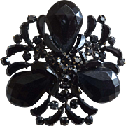 Schreiner Pin Brooch Jet Black Large Stones