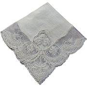 Hankie Bridal Irish Linen Cream Color Scallopped Floral Design