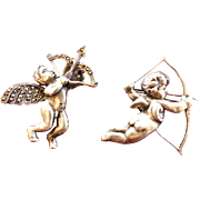 SALE Cupid Pins TWO Arrows Silver Tone Metal 1950's