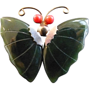 Vintage Jade Butterfly Wings Pin