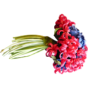 Fabric Flower Red & Blue Lapel Pin
