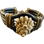 SALE RARE Bohemian Bracelet Carved Peruvian Cameo
