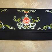 Black Clutch Embroidered Iridescent Flowers