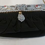 Black Silk Bag With Enamel & Bead Frame