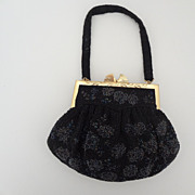 Vintage Black with Black Iridescent Beads, Ornate Frame, Never Used