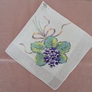 Hankie Embroidered Violets Print Background Burmel Original
