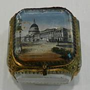 """Antique European Souvenir Glass """"Eglomisé"""" & Gilded Metal Jewelry Casket Box"""