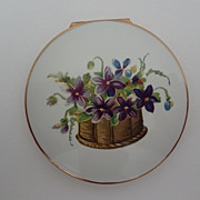SOLD Stratton English Compact Mint Condition Violets on Lid - Red Tag Sale Item