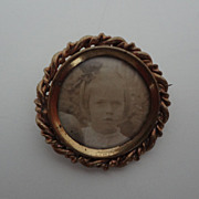 Victorian Minature Portrait Pin of Child
