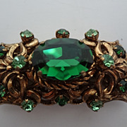 West German Brooch Pin Large Green Stone Gold Tone