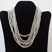Vintage Crystal and White Bead Six Stranded Necklace