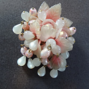 Vintage Pink Lucite & Glass Floral Bead Dangles Pin Brooch