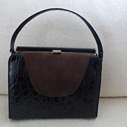 Brown Alligator and Suede Handbag