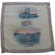 1912 USS New York Crossing the Golden Gate California Silk Souvenir