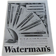 Advertisement~Waterman's Pens & Pencils~1933 Ad
