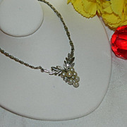 Early Avon Pot Metal Grape Cluster Pendant ~ Rhinestones Faux Pearls