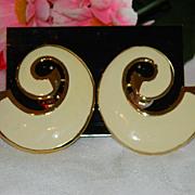 Stunning Les Bernard Runway Designer Earrings ~ Bold Enamel  On Original Card