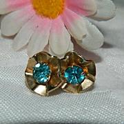 Brilliant Art Deco Blue Paste Earrings ~ Free Ship Item!