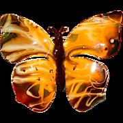 West Germany Enamel Butterfly Brooch ~ Stunning & Unusual!