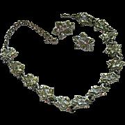 SALE Stunning Coro Silver Tone Grape Vine Motif Parure ~ Glorious Shine
