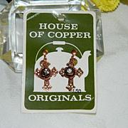 1950's House of Copper ~ Cross Earrings Rhinestones Gorgeous